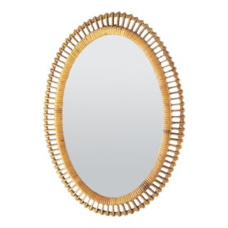 Oval Mirror in Wicker 50 Years For Sale