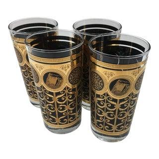 Vintage Hollywood Regency Black and Gold Highball Glasses - Set of 4 For Sale