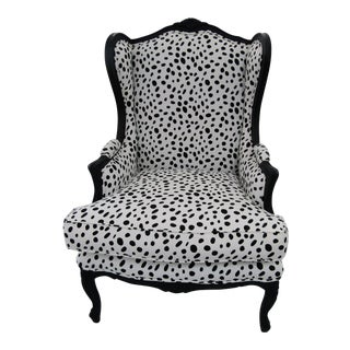 "1970s Vintage ""Dalmatian"" Fabric Wingback Chair For Sale"