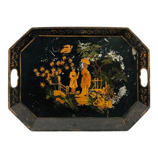 Antique Hand Painted Chinoiserie Tole Tray For Sale