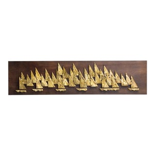 Rare Brass Metal Sailboat Wall Sculpture by Peter Pepper, 1960s For Sale