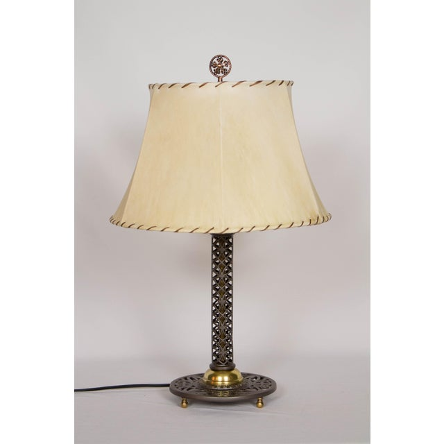 Cast Iron and Brass Filigree Lamp For Sale In Boston - Image 6 of 7