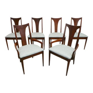 Mid Century Modern Broyhill Brasilia Sculptura Walnut & Silver Grey Tweed Dining Chairs- Set of 6 For Sale