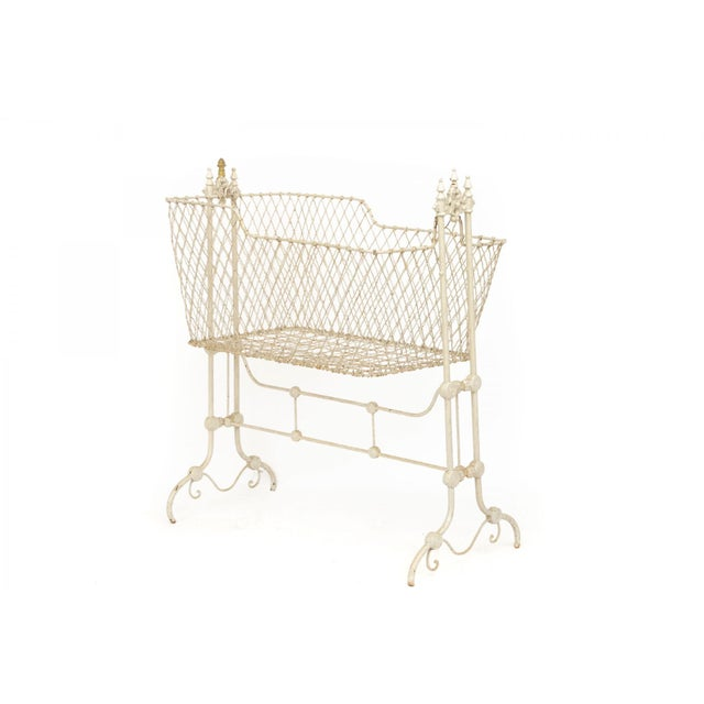 Victorian Antique Victorian Painted Wrought Wire and Cast Iron Swinging Cradle For Sale - Image 3 of 10
