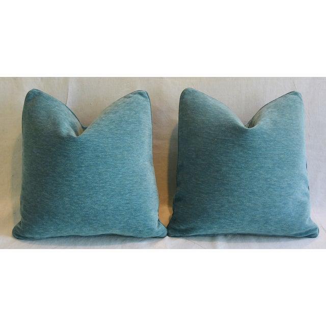 "Schumacher Velvet & Linen Feather/Down Pillows 21"" Square - Pair For Sale - Image 9 of 13"