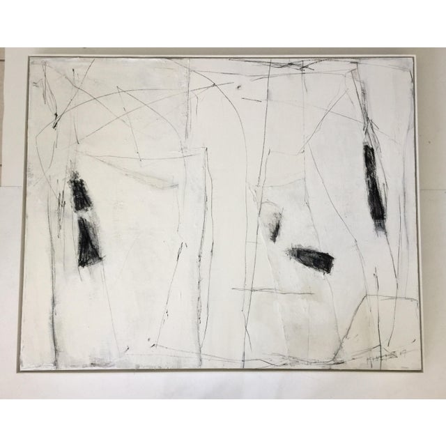Acrylic Paint Abstract Black and White Mixed Media Painting For Sale - Image 7 of 7