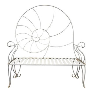 Art Nouveau Nautilus Shell Wrought Iron Outdoor Garden Bench 1 For Sale