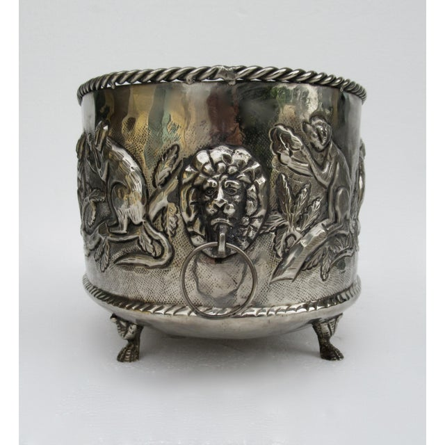 1970s Castilian Hammered Silver Monkey Embossed Centerpiece Jardiniere, Planter For Sale - Image 5 of 13