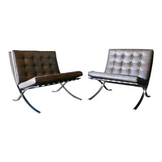 1970s Gerald R. Griffith for Ludwig Mies Van Der Rohe Lounge Chairs-a Pair For Sale