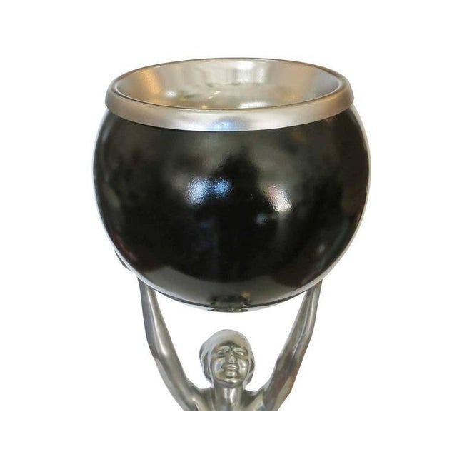 Frankart Style Silvertone and Onyx Nude Figural Cocktail Smoker Ashtray For Sale In Los Angeles - Image 6 of 10