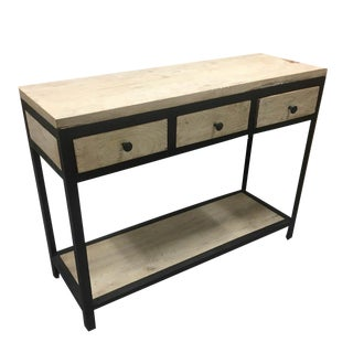 Rustic 3-Drawer Console With Iron and Whitewash Finish For Sale