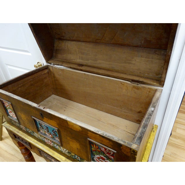Antique Mexican Hand Painted Wedding Trunk - Image 5 of 5