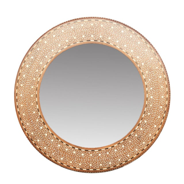 Zellige Round Bone Inlay Mirror For Sale In Los Angeles - Image 6 of 6