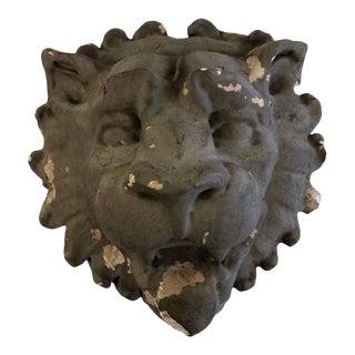 Antique Gray Plaster Lion Head For Sale