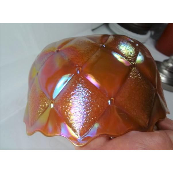 Mid 20th Century Mid 20th Century Marigold Color Carnival Iridescent Glass Bowl For Sale - Image 5 of 13