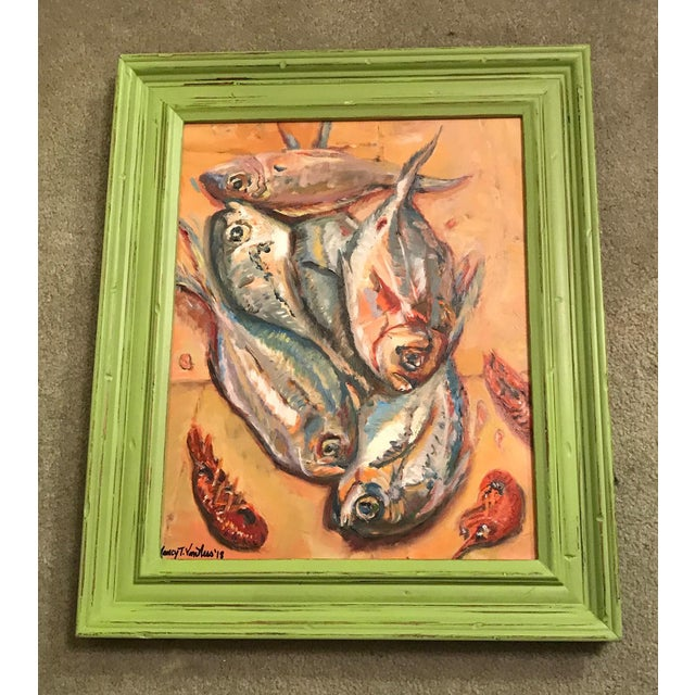 Nancy T. Van Ness Crawfish Original Framed Oil Painting For Sale - Image 12 of 13