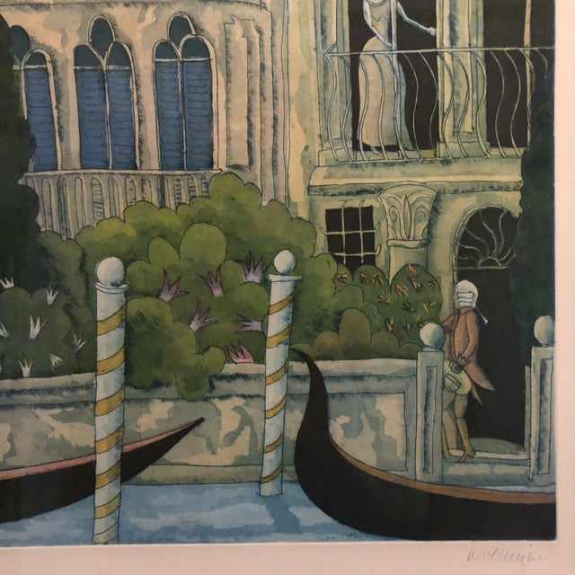 Thomas McKnight Framed Color Etching Venetian Idyll 99/100 Pencil Signed 1981 For Sale - Image 10 of 13