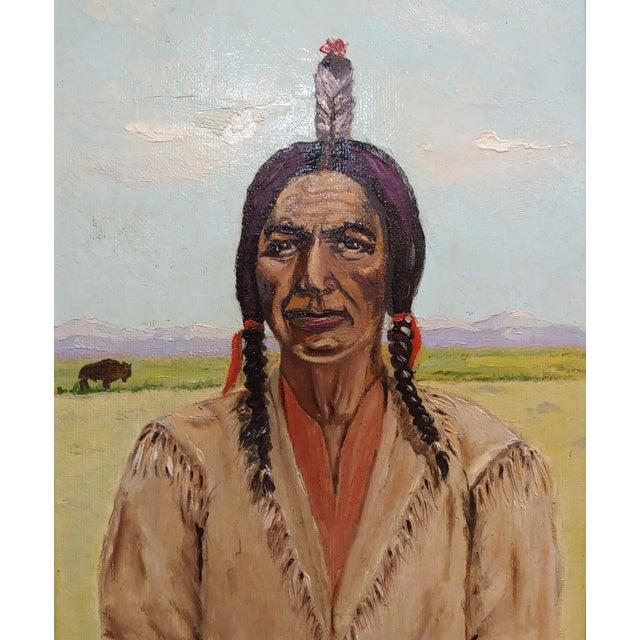 Native American Joseph Hoffman -Portrait of Chief Joseph -Native American Oil Painting For Sale - Image 3 of 9