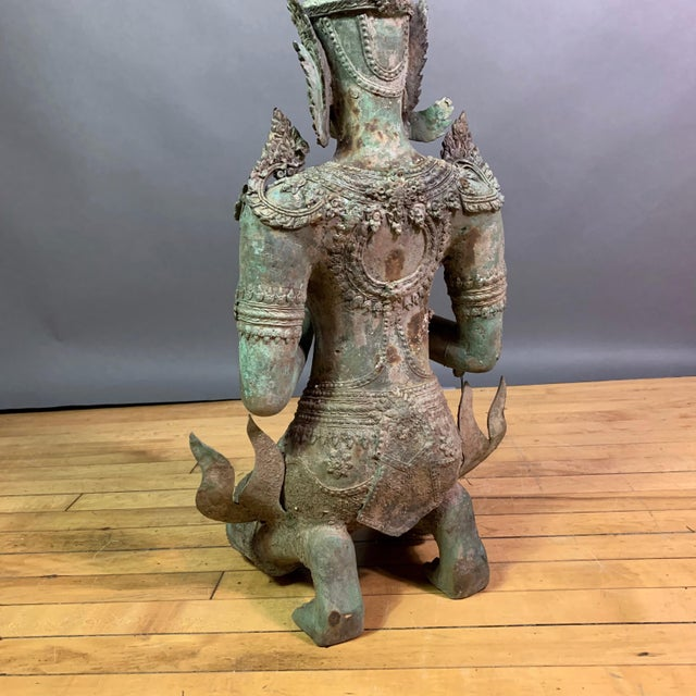 """Green Early 1900s Mythologic Thepphanom Angel 30"""" Bronze Statue, Thailand For Sale - Image 8 of 12"""