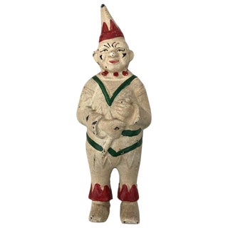 Collectible Antique Cast Iron Clown Bank For Sale