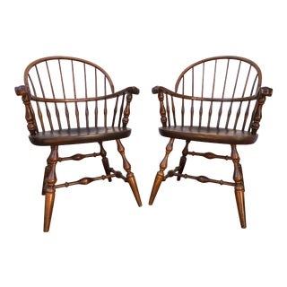 1980s Traditional Nichols & Stone Dining Room Rockport Arm Chairs - a Pair