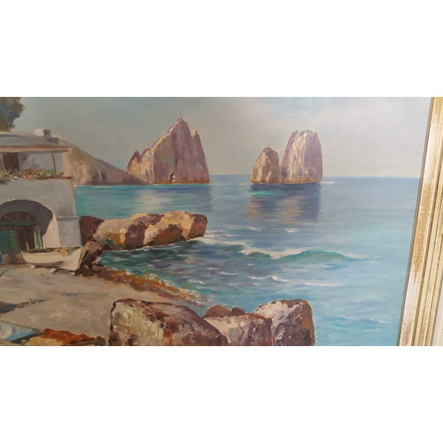 1960s Italian Coastal Oil Painting on Masonite by Guiseppe Salvati For Sale - Image 4 of 9