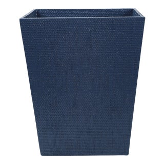 Blue Linen Covered Waste Basket For Sale