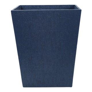 Blue Linen Covered Waste Basket For Sale