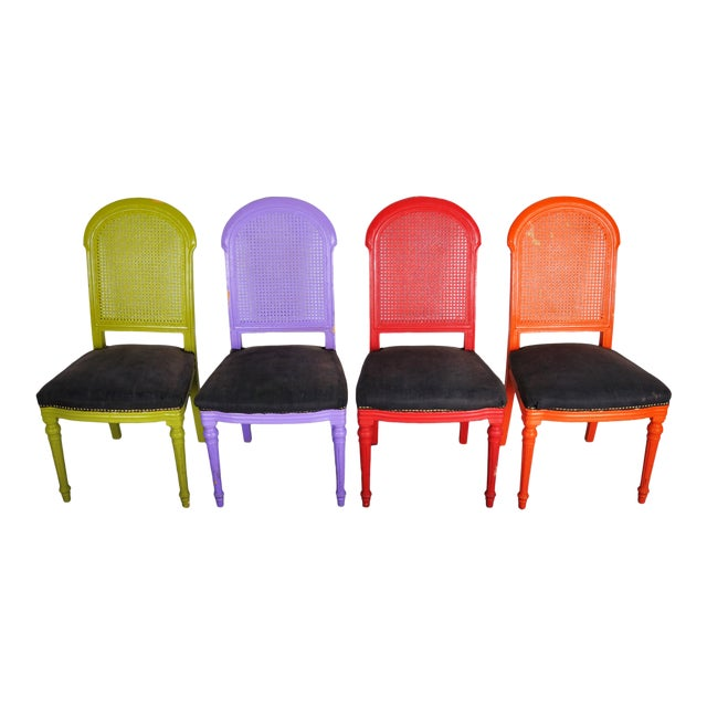 1970's Vintage French Multicolor Dining Chairs With Cane Back - Set of 4 For Sale