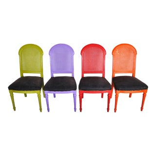 Set of 4 1970's Vintage French Multicolor Dining Chairs With Cane Back For Sale