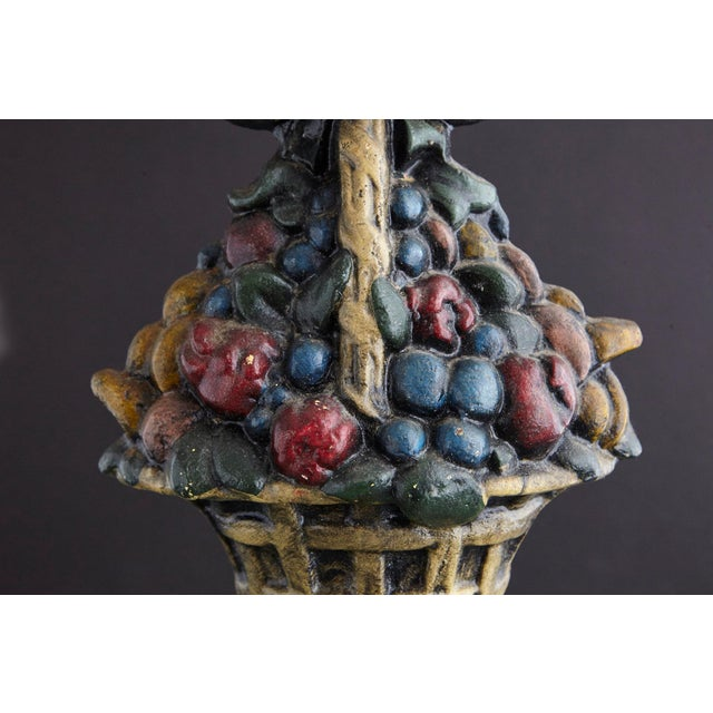 19th Century Large Cast Iron Hand Painted Polychrome Flower Basket Doorstop For Sale - Image 4 of 11