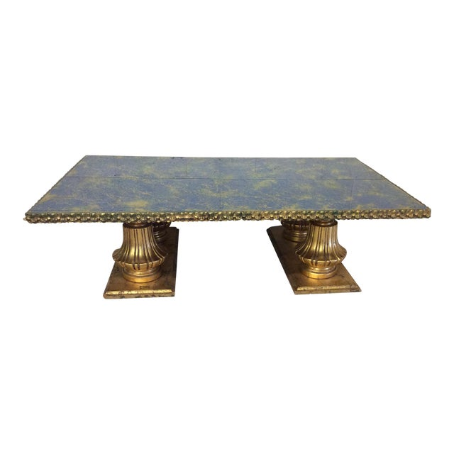 Monumental Italian Gold Gilt Carved Wood & Painted Glass Top Coffee Table For Sale