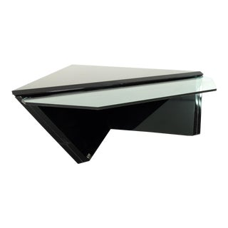 Roger Rougier Mid Century Diamond Glass and Lacquer Coffee Table For Sale