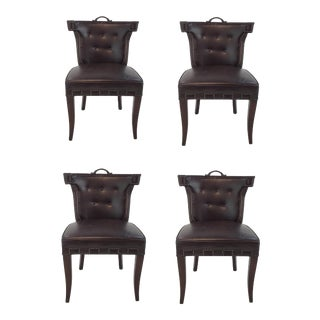 Global Views Dark Chocolate Leather Casino Klismos Chairs Set of Four For Sale