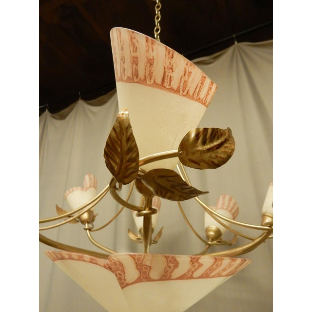 Pink Vintage 1950's French Whimsical Eight Lite Chandelier For Sale - Image 8 of 9