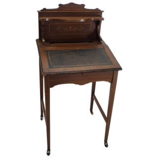 19th Century Victorian Wooden Writing Desk With Lift Top For Sale