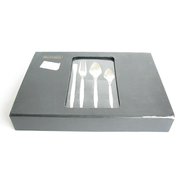 Modern Guttlem Germany Gold Brushed Stainless Steel Flatware Set - 24 Pieces For Sale - Image 11 of 13