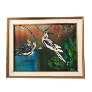 """1950s Vintage Alice Scott """"Yellow Crested Birds"""" Framed Watercolor Painting For Sale"""
