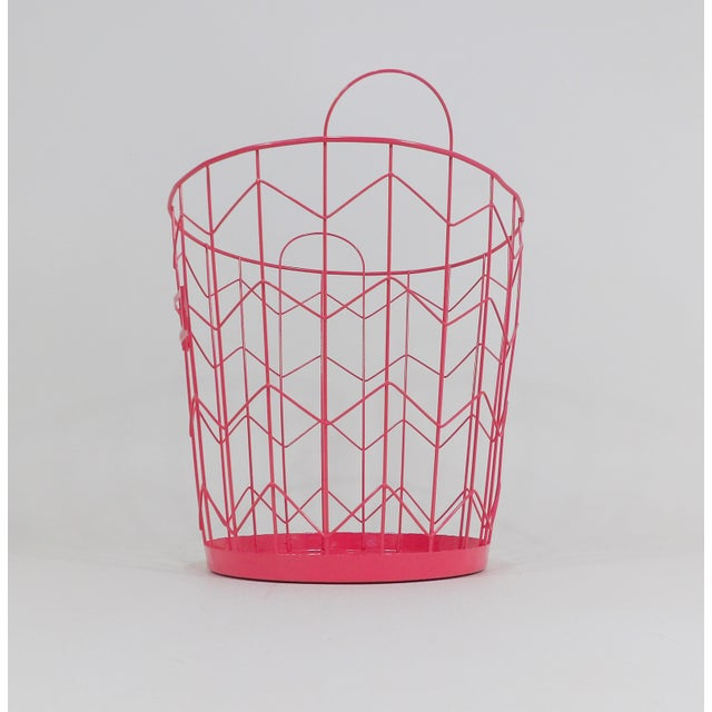 Contemporary Red Wire Metal Waste Receptacle For Sale - Image 4 of 6