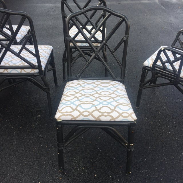 Vintage Faux Bamboo Chippendale Dining Chairs - Set of 6 - Image 5 of 11