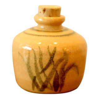 Hand Painted Ceramic Vessel With Cork Top For Sale