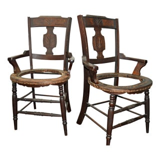 19th-C. Wood Armchairs - a Pair For Sale