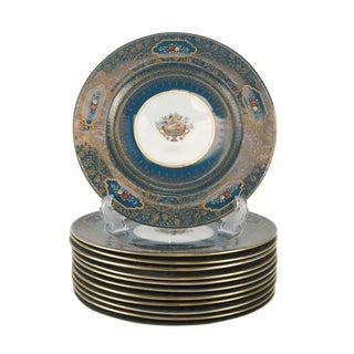Set of 12 George Jones Crescent China Enamel & Gilt Jeweled Dinner Plates, Circa 1900