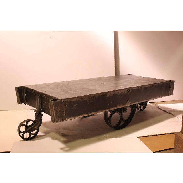 Industrial Antique American Industrial Steel Cart Coffee Table For Sale - Image 3 of 8