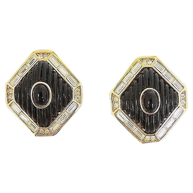 Dior Black Lucite & Faux-Onyx Earrings, 1984 For Sale