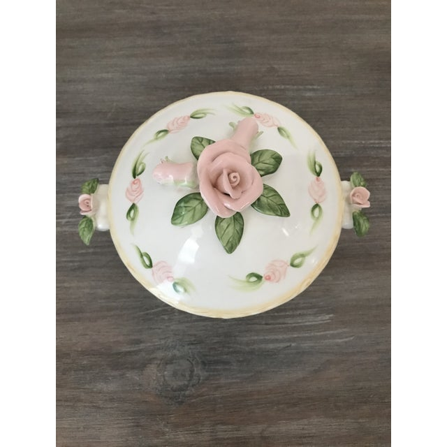 Vintage Christina Ladas for Silvestri Hand Painted Rose Trinket Dish For Sale In Palm Springs - Image 6 of 8