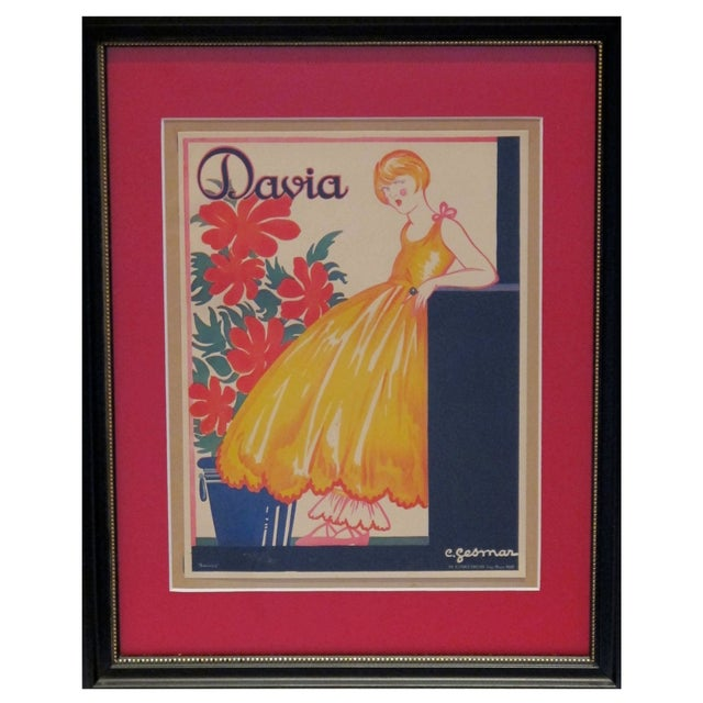 Framed Vintage British Advertisement Davia For Sale