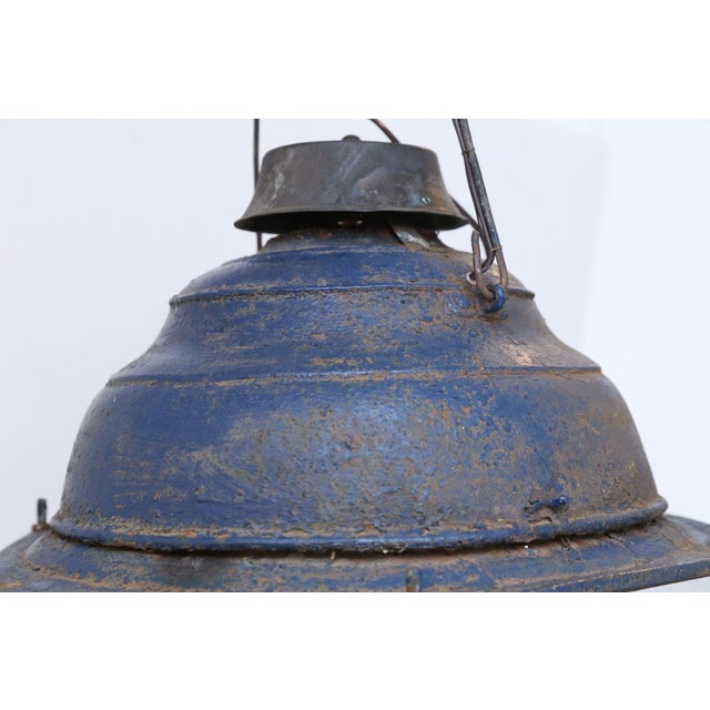 Large Late 19th Century Blue-Painted Lantern For Sale - Image 4 of 11