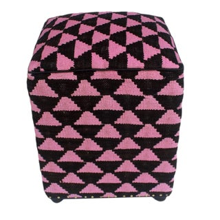 Arshs Diedre Black/Pink Kilim Upholstered Handmade Ottoman For Sale