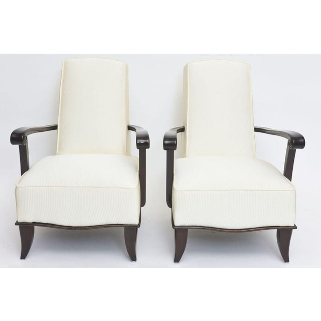 Jean Pascaud Jean Pascaud Pair of French Modern Rosewood and Upholstered Armchairs, 1940s For Sale - Image 4 of 11